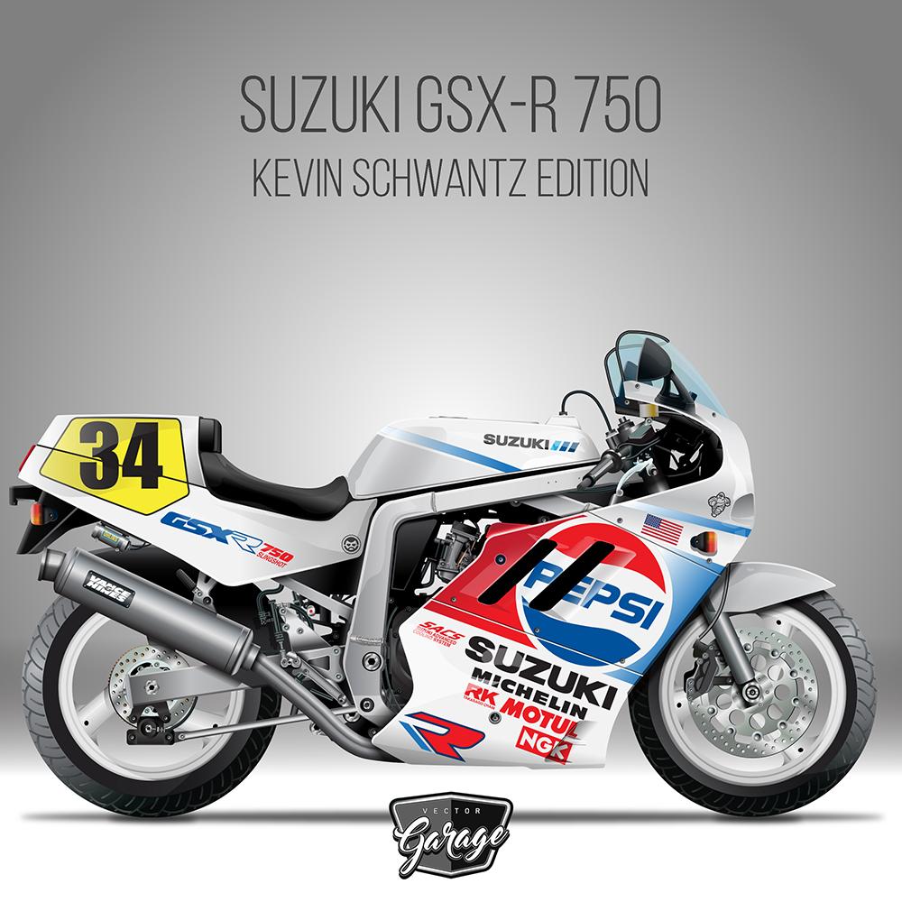 Suzuki Gsx R 750 Kevin Schwantz Bienvenido A Ilustrador