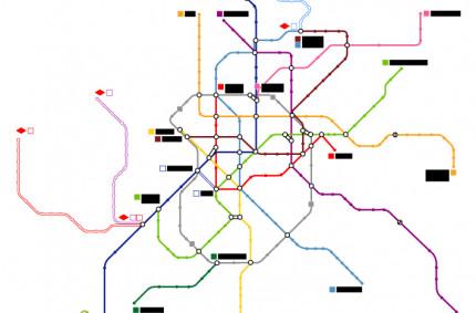 Plano Metro Madrid sin estaciones.